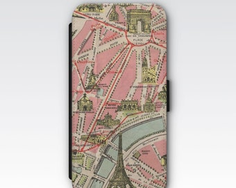 Wallet Case for iPhone 8 Plus, iPhone 8, iPhone 7 Plus, iPhone 7, iPhone 6, iPhone 6s, iPhone 5/5s - Vintage 1920's Paris Street Map Case