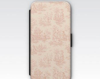 Wallet Case for iPhone 8 Plus, iPhone 8, iPhone 7 Plus, iPhone 7, iPhone 6, iPhone 6s, iPhone 5/5s - Vintage Pink French Toile Case