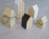 Happy Little Neighborhood - Wood Block Houses - Party - Birthday - Wooden toys