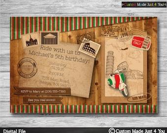 Birthday Invitation, travel invitation, Post Card Invitation Boy Birthday Invitation Printable + PRINTED Italy invitation Vintage invitation