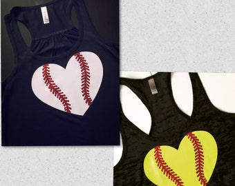 Baseball or Softball Heart with Glitter laces...