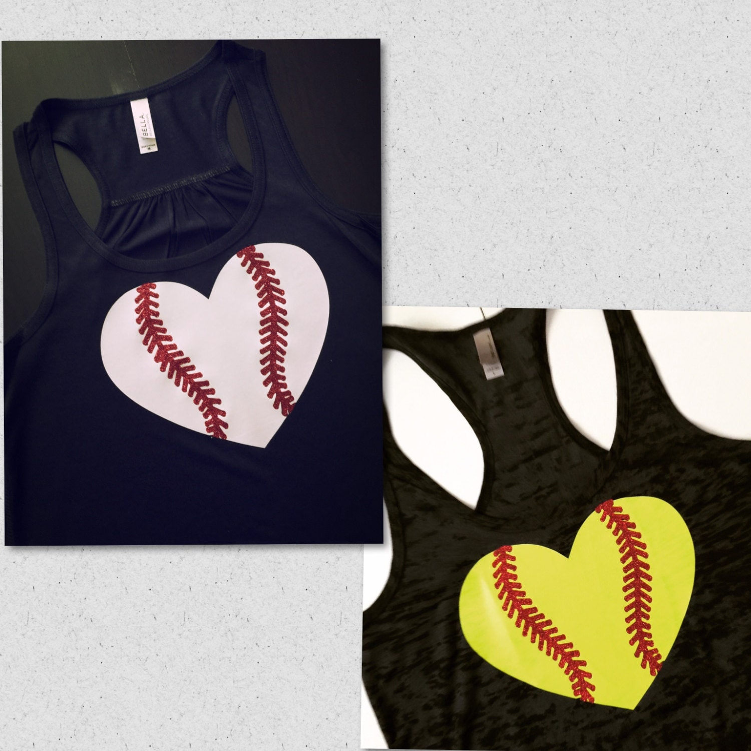 Baseball Or Softball Heart With Glitter Laces