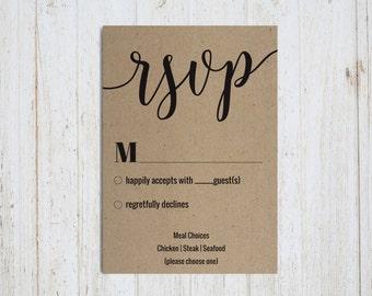 Wedding RSVP, Printable, Rustic Invitation, modern, calligraphy, hip, Wedding Template, Formal Invitation, Invite, PDF Instant Download