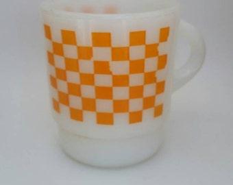 Vintage Checkered Orange Fire King Mug