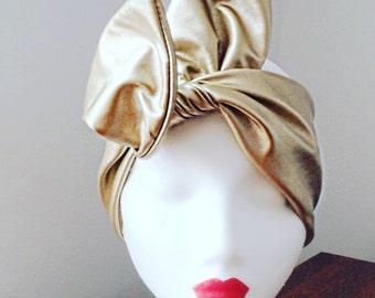 Gold Turban/Headscarf/Headwrap/Hair Accessory.