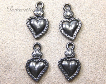 Heart Milagro By TIERRACAST~ Black Finished Lead Free Pewter~4 Pieces