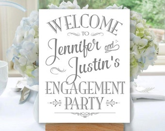Engagement Party Sign Printable, Grey Matte/Faux Silver, Welcome Sign, Personalized with Names (#ENG1A)