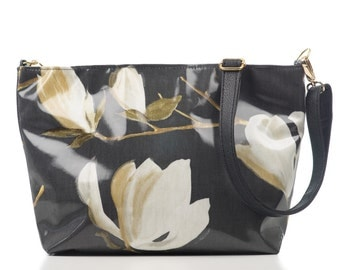 Magnolia Oilcloth Handbag, Suedette lined Shoulder Bag, Women, Gift