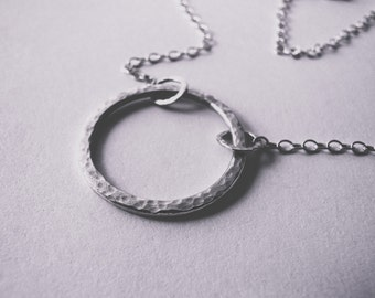 Sterling Silver Circle Necklace - Hammered Silver Circle Necklace - Handmade Necklace