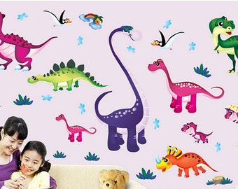 Removable Wall Stickers - Ten Bright Dinosaurs  - AW1045