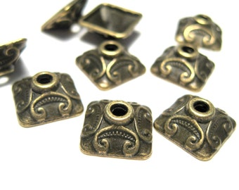 20pcs Antique Bronze Square Bead Caps 10x4mm