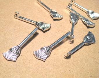 10pcs Antique Silver Broom Charms pendants