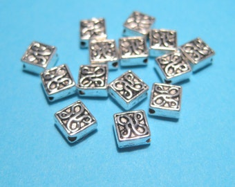 50pcs Antique Silver Square Spacer Beads, Square Metal Spacer beads