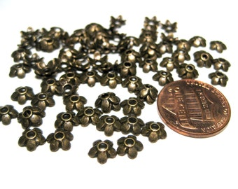 100pcs Antique Bronze Flower Bead Caps 6mm