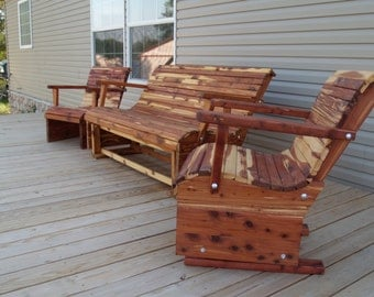 patio set, glider set, patio furniture, deck furniture, wooden furniture, porch sets, glider, chairs,