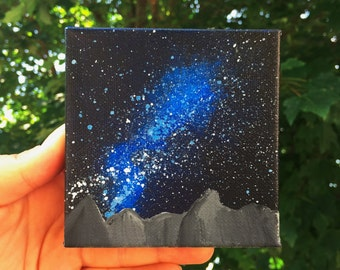 MINI MOUNTAIN + GALAXY Original Acrylic Painting on Wood-Stapled 4 x 4 Canvas
