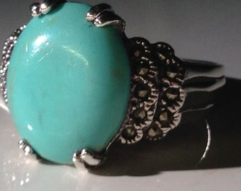 Sterling Silver Ring with Howlite and Small Marcasites