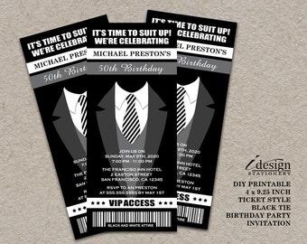 Tuxedo 50th Birthday Party Ticket Invitation | Printable Ticket Style All Black Themed Birthday Invitations For Men | Black Tie Invites