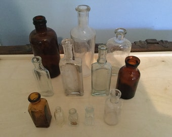 12 Vintage antique bottles