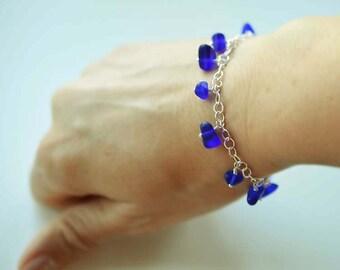Sea glass bracelet sea glass and sterling silver bracelet charm bracelet cobalt blue sea glass bracelet adjustable bracelet dainty jewelry