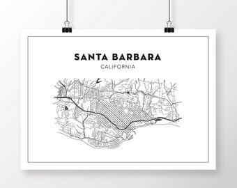 Santa Barbara Map Etsy - Santa barbara on us map