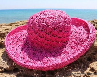 CROCHET SUMMER HAT - Women's Sun Hat - Floppy Beach Hat - Hat With Brim - Pink Hat - Hand Crocheted Item - Summer Gift - Wide Brim Sun Hat