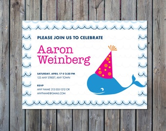 Whale Birthday Party Invitation-Preppy Whale Birthday Party Invitation- Whale Theme Birthday Invitation- Boy's Birthday Party Theme