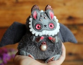 ooak toy bunny cute monster toy Gothic plush bunny toy plush rabbit stuffed doll ooak winged fantasy creature