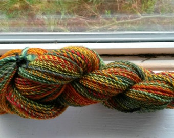 August Harvest.  Handspun 2 ply yarn. 195 yards.  Approximately sock yarn weight. Fractal gradient colorway. Bright beautiful and soft!