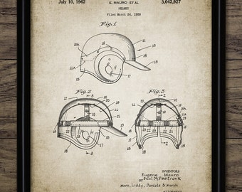 Baseball Helmet Patent Print - Baseball Equipment - 1962 Baseball Design - Single Print #1473 - INSTANT DOWNLOAD