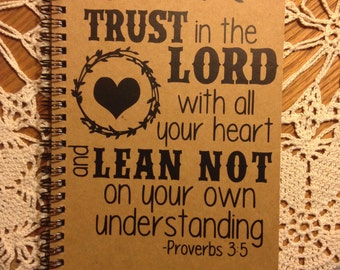 """Personalized Journal, """"Trust in the Lord"""" Proverbs 3:5"""