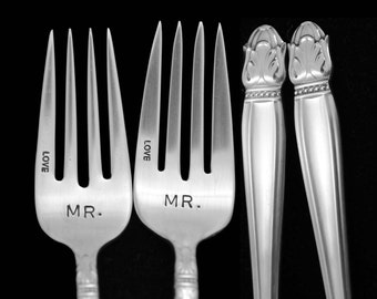 Stamped Forks, Mr and Mr Fork, Same Sex Vintage Wedding Silverware,Something Old Dessert Fork Danish Princess Silver Plate Luncheon Forks