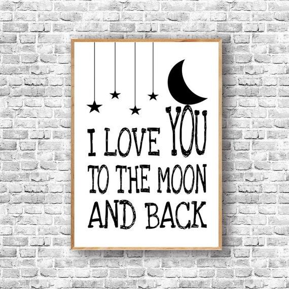 i love you to the moon and back nursery wall decor custom. Black Bedroom Furniture Sets. Home Design Ideas
