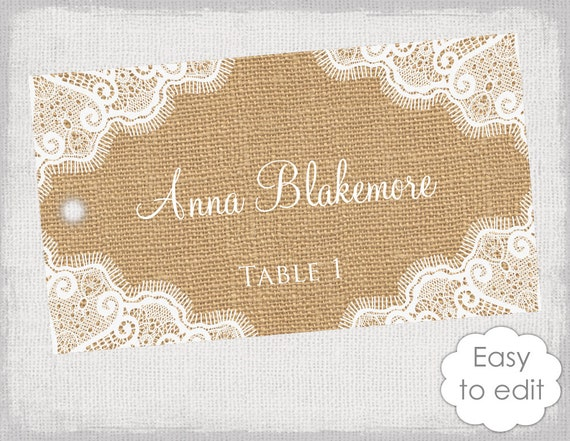 rustic escort tags template burlap and lace diy. Black Bedroom Furniture Sets. Home Design Ideas