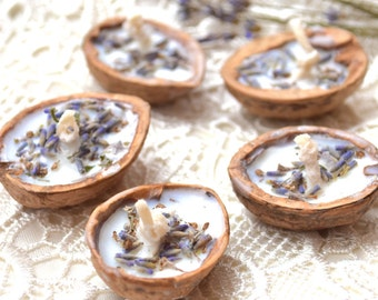 Lavender candles Floating candle Fall Wedding candles Rustic Tea light Walnut shell candle Soy wax Summer Party Wedding party favors 5 pcs