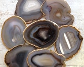 Agate Coasters Set of 4 Agate Coaster Geode Coasters Geode Coaster Set SHADES of GRAY Natural, Gold or Silver Edge White Browns
