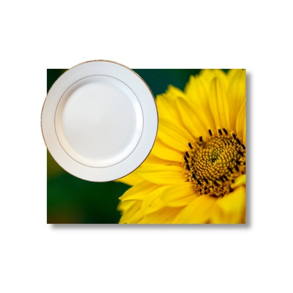 Yellow Placemats, Flower Place Mats, Green Dining Room Decor, Unique Kitchen Decor, Daisy Dining Table Decorations, Macro Photography Decor