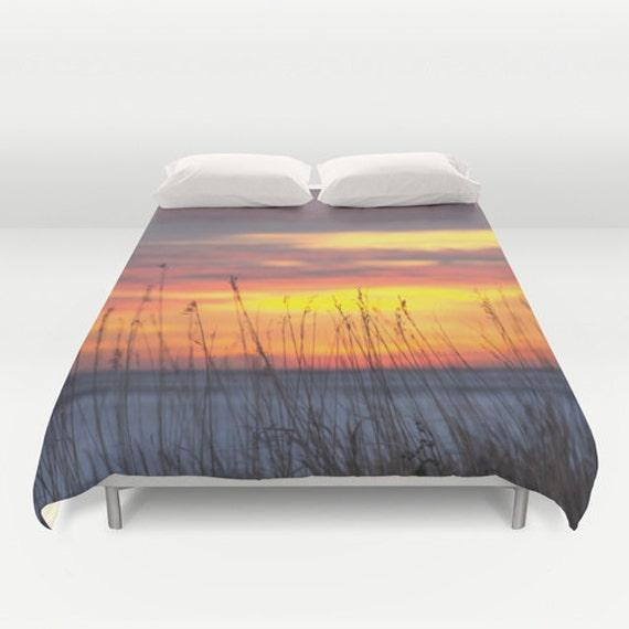 Duvet Cover, Colorful Sunset, Snowy Farmland, Winter Evening, Bedroom Decor, Romantic Field, Nebraska Images, Warm Bedding, King Blanket