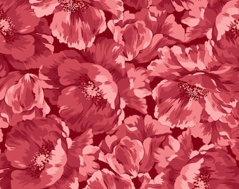 Poppies Red Tonal 8782-R by Maywood Studio Cotton Fabric Yardage