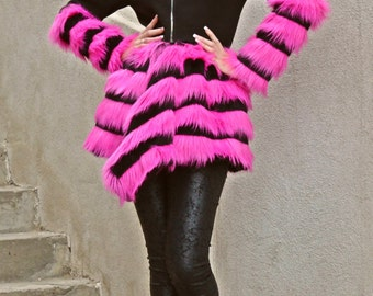 Black Wool Coat / Black Cashmere Winter Coat / Fantasy Fur Coat / Winter Coat with Fantasy Fur TC58