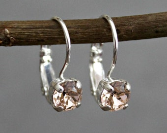 Champagne Crystal Earrings, Champagne Drop Earring, Champagne Dangle Earring, Champagne Swarovski Earrings, Champagne Earring, Peach Earring