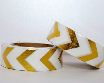 Foil Washi Tape roll - gold chevrons - Christmas - Gift - decoration