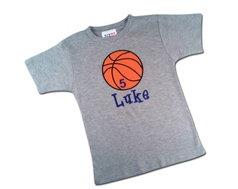 Boy's Sports Basketball Birthday Shirt with Number and Name