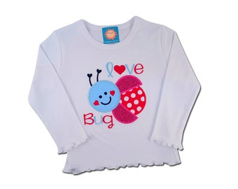 Girl's Love Bug Valentine Shirt with Embroidered Name