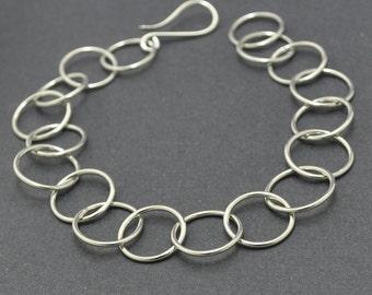 Sterling Silver Bracelet, Handmade links, Silver Chain Bracelet