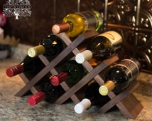 Tabletop Wine Rack - Handmade - Butterfly Style in Solid Walnut and Oil Finish - 8 Bottles
