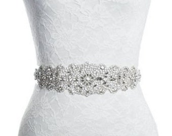 Rhinestone wedding dress applique patch for bridal sash belt