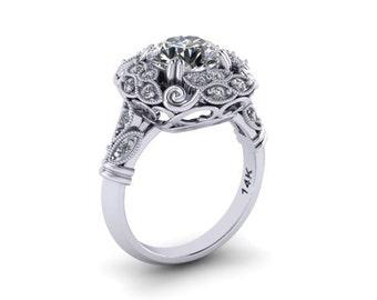 Forever One Moissanite Engagement Ring 8mm Round Center 14kt White Gold .30ct Natural Diamonds Engagement Wedding Diamond Vintage Ring