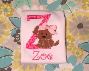 Puppy Shirt with Initial