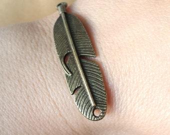 10pcs 11x45mm Antique Bronze Feather Charm Pendant , Bracelet Connector ABw02
